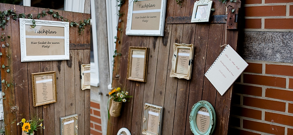 Tischplan an Holztür, Bilderrahmen für Tischordnung, Heiraten im Haverbeckhof Bispingen - Jana Richter fotografie-51.jpg