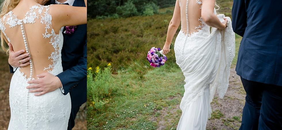 Spitzenkleid, Stilvolles Hochzeitskleid, Brautpaar von hinten